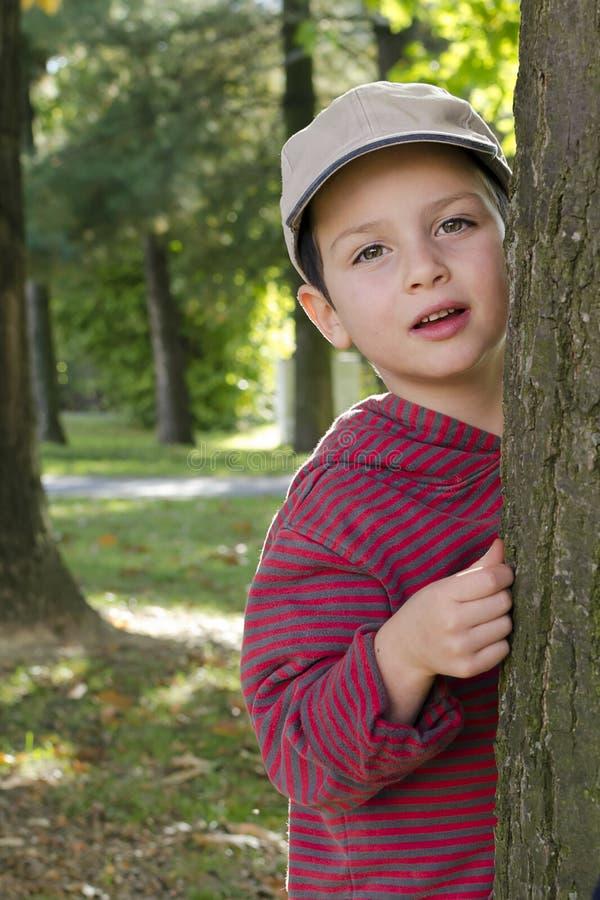 公园或森林的孩子 免版税库存图片
