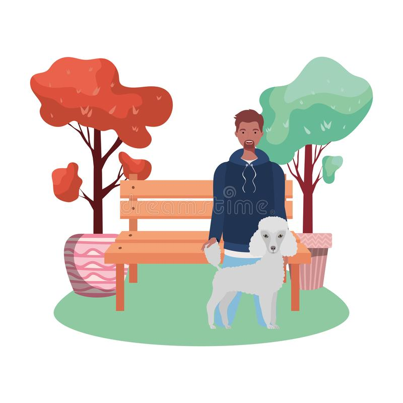 公园现场有个可爱狗的年轻非洲人 库存例证