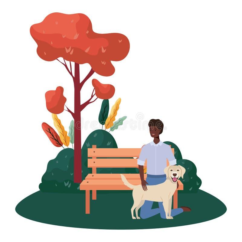 公园现场有个可爱狗的年轻非洲人 向量例证