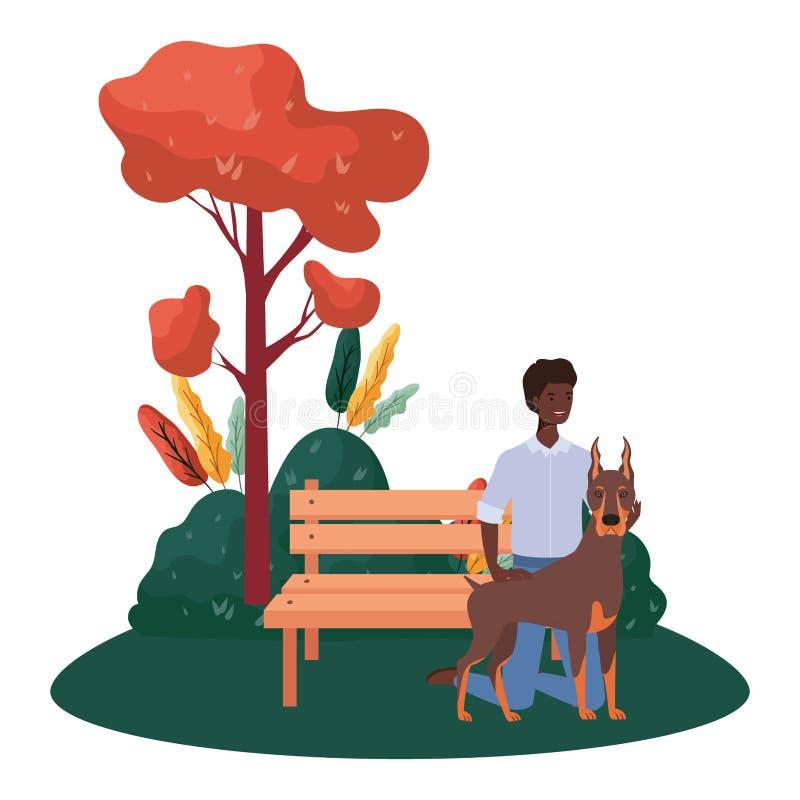 公园现场有个可爱狗的年轻非洲人 皇族释放例证