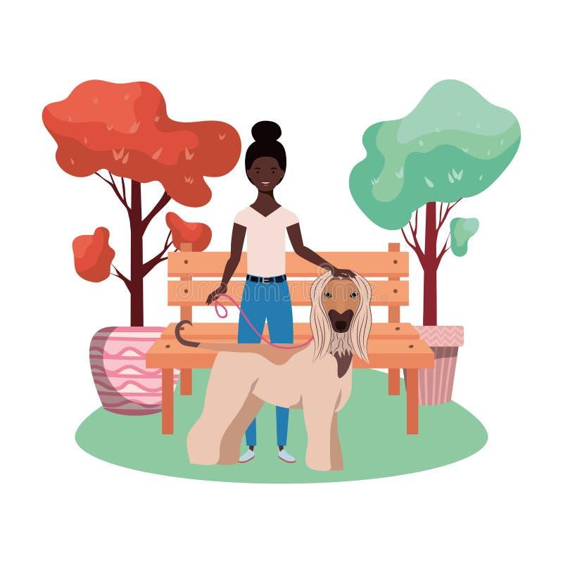 公园现场有可爱狗的年轻非洲女人 库存例证