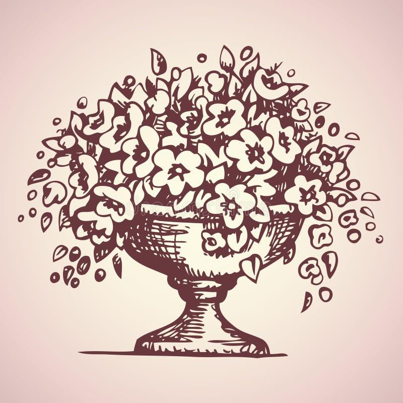 公园花瓶花 得出花卉草向量的背景 库存例证