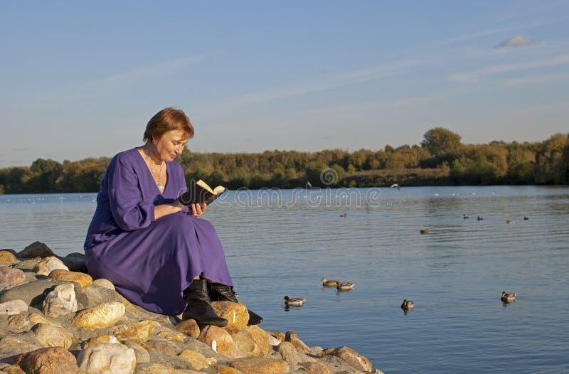 公园读取妇女 图库摄影