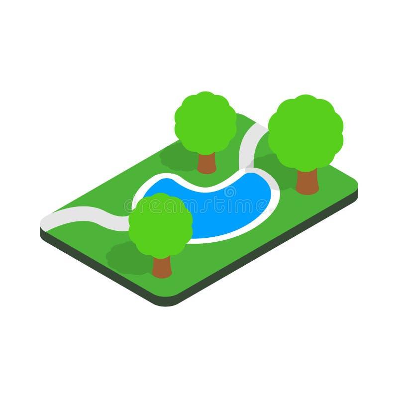 公园象的小池塘,等量3d样式 向量例证