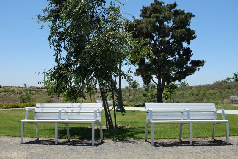 公园长椅在巨大公园露天场所足迹系统的树丛地区 免版税库存照片