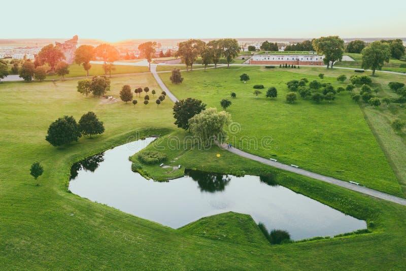 公园鸟瞰图在考纳斯IX堡垒,立陶宛附近的 库存照片