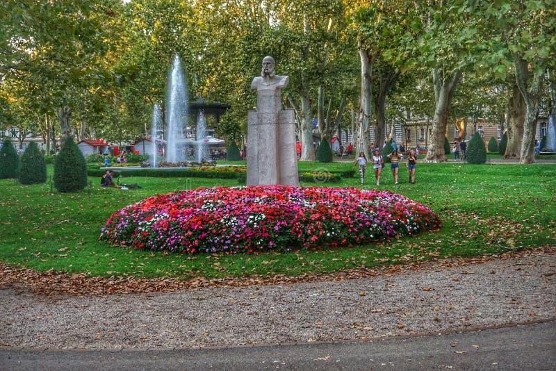 公园Zrinjevac在萨格勒布市,克罗地亚 免版税库存照片