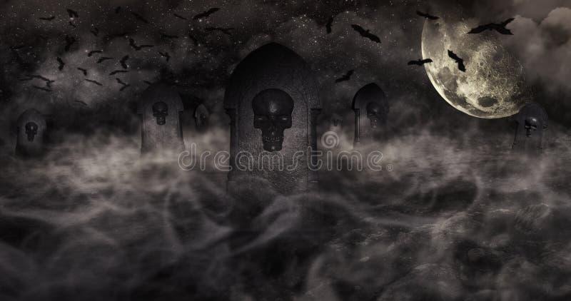 公墓在与墓碑的晚上与头骨和多云天空Ful 皇族释放例证