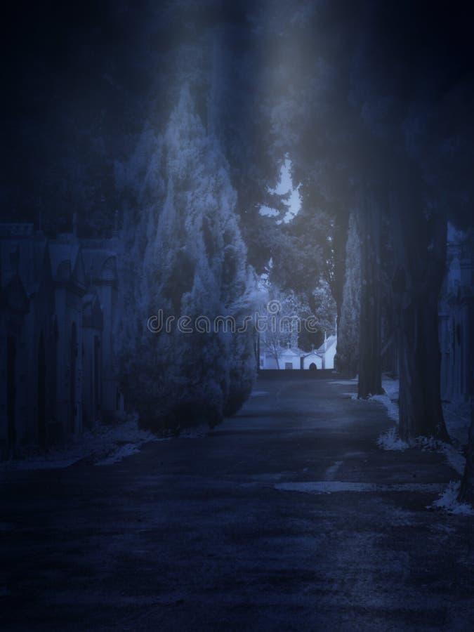公墓在有雾的夜 免版税库存图片