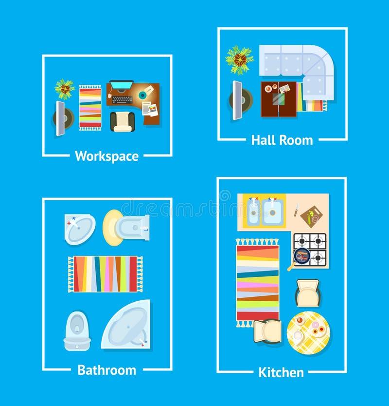 公寓室内设计传染媒介例证 向量例证