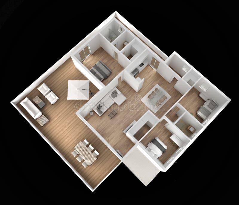 公寓平台面视图、家具和装饰,计划,短剖面室内设计,建筑师设计师概念想法,深黑色 向量例证