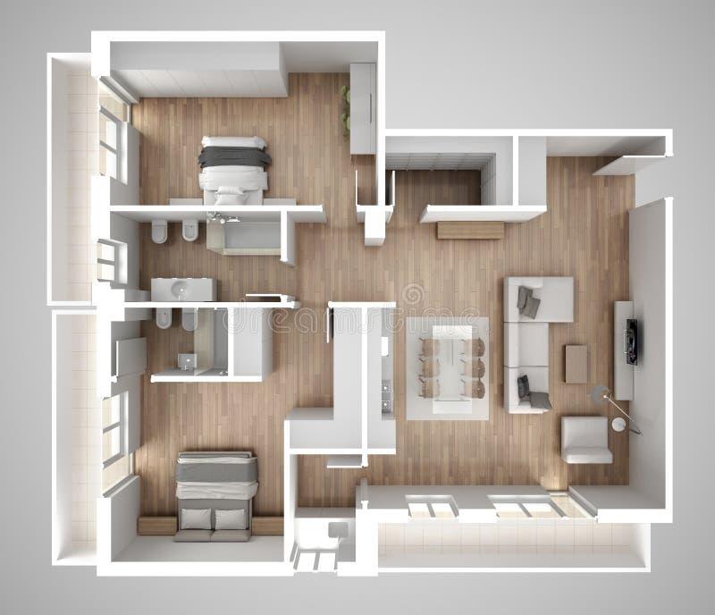 公寓平台面视图、家具和装饰,计划,短剖面室内设计,建筑师设计师概念想法,灰色backgrou 皇族释放例证
