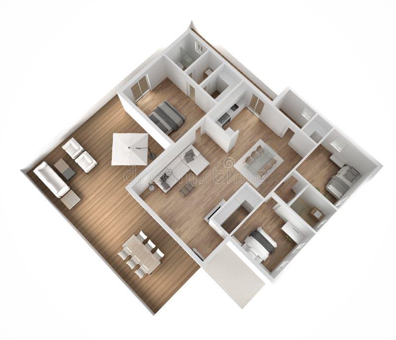 公寓平台面视图、家具和装饰,计划,短剖面室内设计,建筑师设计师概念想法,白色backgro 向量例证