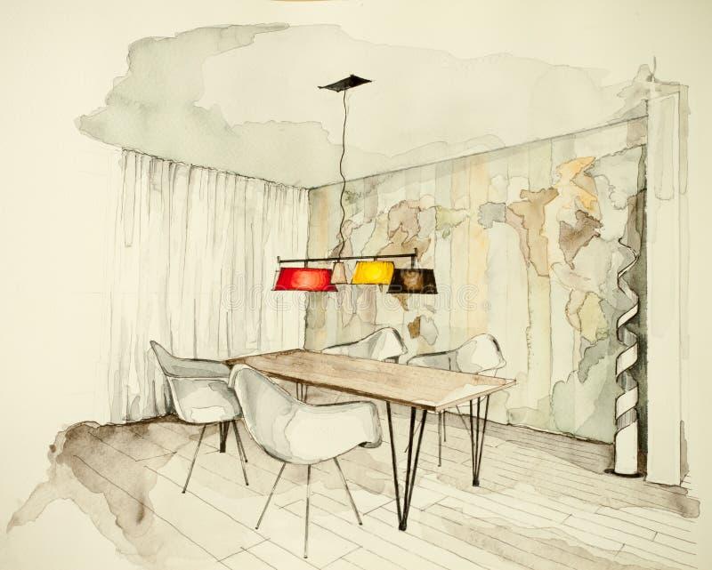 公寓平的餐厅水彩和墨水徒手画的略图,象征艺术性的习惯独特的精品店方法 向量例证