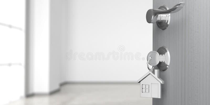 公寓或家庭门道入口与门户开放主义,迷离空的室背景 3d例证 皇族释放例证