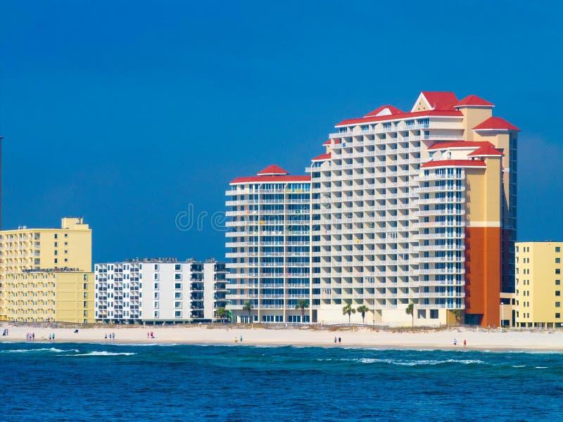 公寓房和旅馆墨西哥湾的奥兰治海滩的,阿拉巴马 免版税库存图片