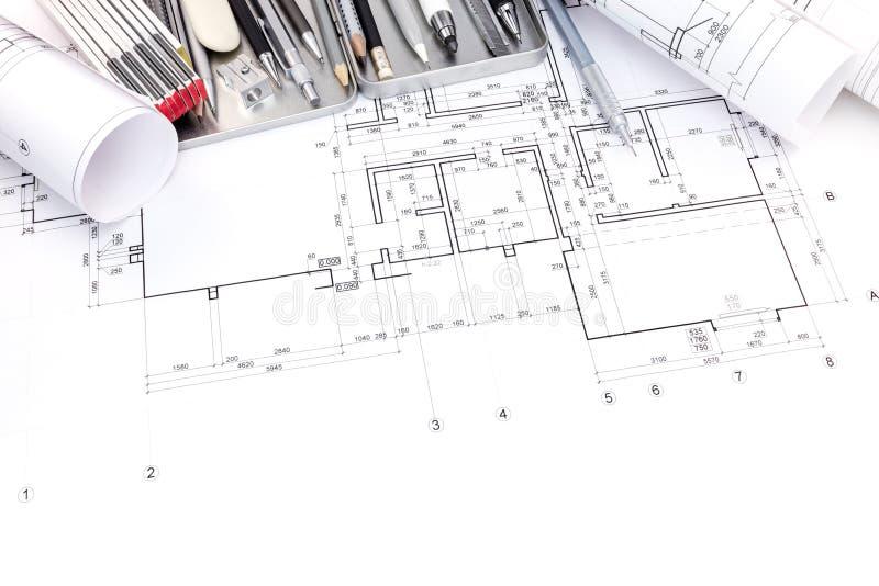 公寓房间和图纸图解计划滚动与drawi 库存照片