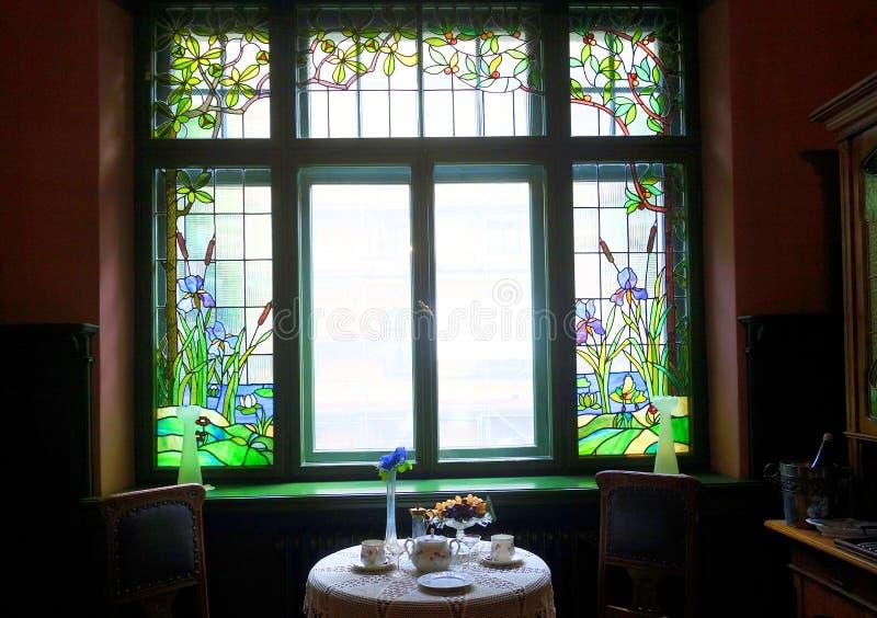 公寓的设计的细节在新艺术主义样式的在新艺术主义博物馆 库存照片