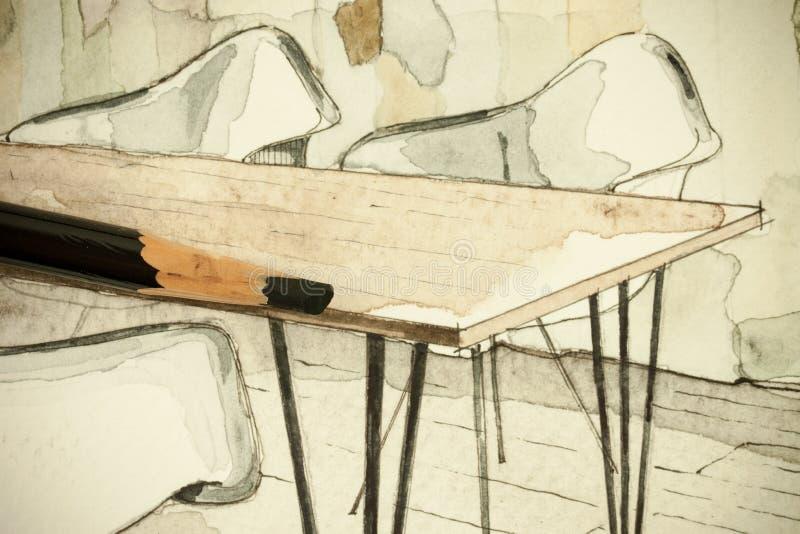 公寓的餐厅水彩水彩画墨水徒手画的剪影透视建筑图画平展与铅笔 向量例证
