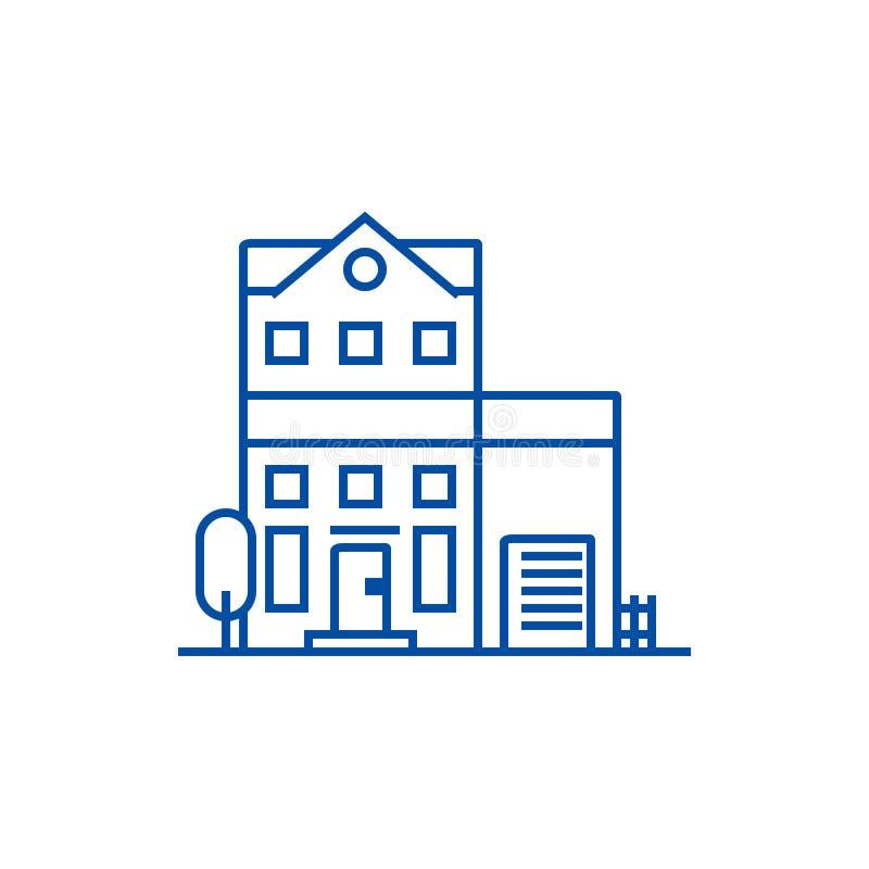 公寓线象概念 公寓平的传染媒介标志,标志,概述例证 皇族释放例证