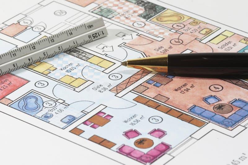 公寓色的计划 库存图片