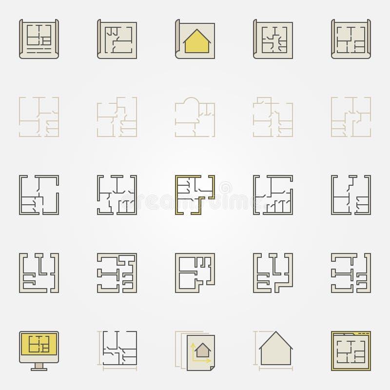 公寓计划五颜六色的象 向量例证