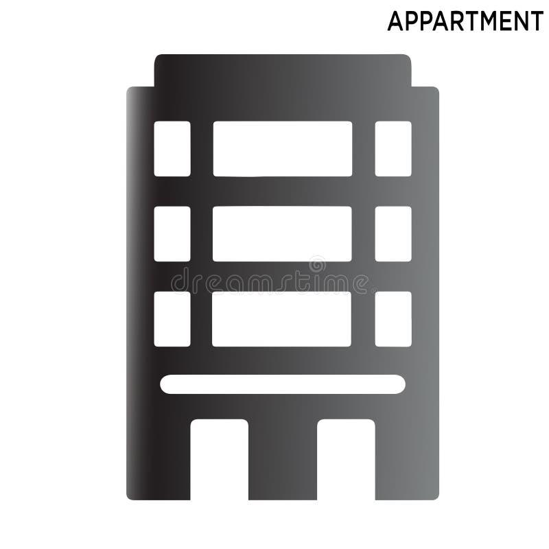 公寓象在白色背景隔绝的标志设计 皇族释放例证
