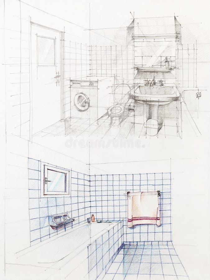 公寓速写的卫生间透视图 免版税库存图片