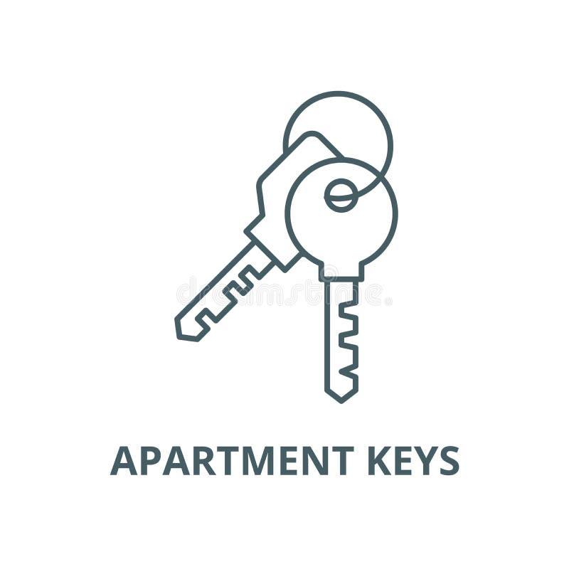 公寓钥匙导航线象,概述概念,线性标志 皇族释放例证