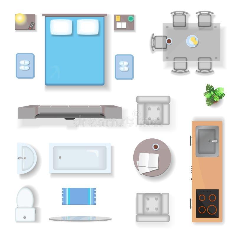 公寓顶视图、客厅卧室和卫生间家具设计元素现实传染媒介 皇族释放例证