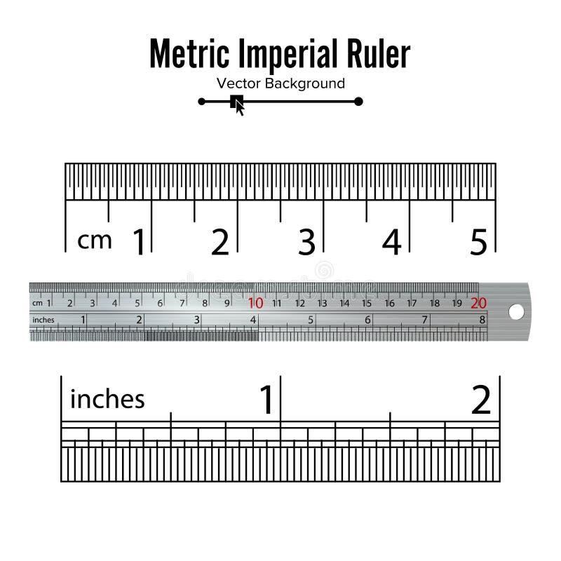公尺皇家统治者传染媒介 厘米和英寸 措施用工具加工在白色背景隔绝的设备例证 向量例证