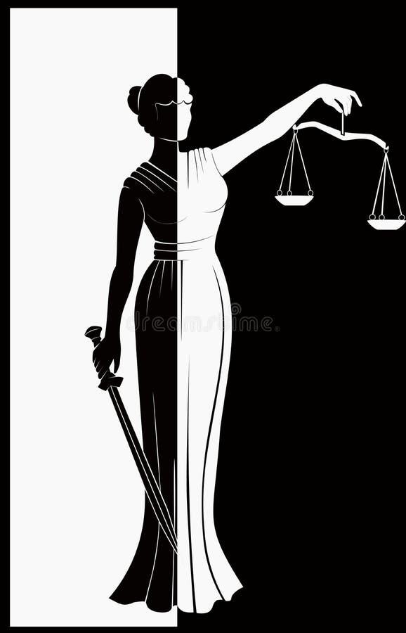 公平的审判法律 夫人正义Themis 皇族释放例证