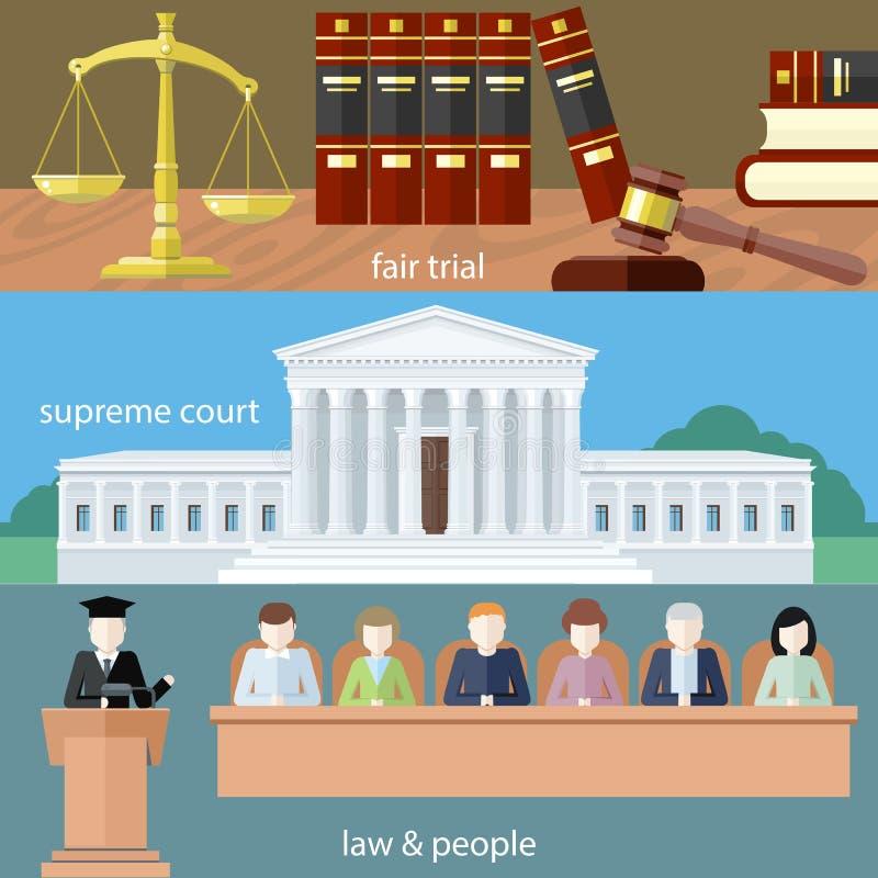 公平的审判 至尊的现场 法律和人们 向量例证