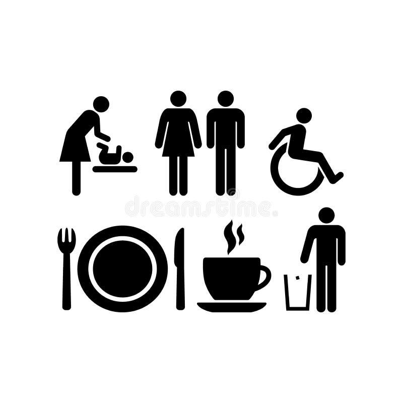 公开吃饭的客人,餐馆,咖啡馆,休息室签字 婴孩更衣室, wc标志 皇族释放例证
