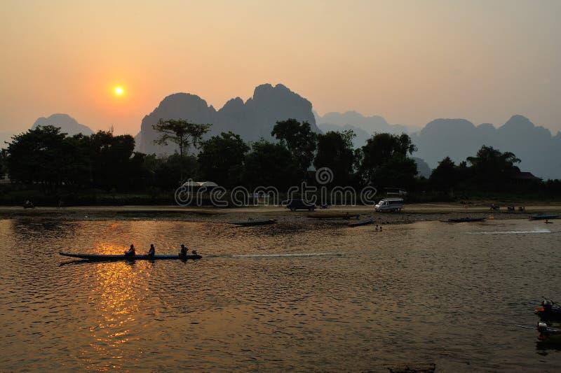 公开的日落湄公河 免版税库存图片