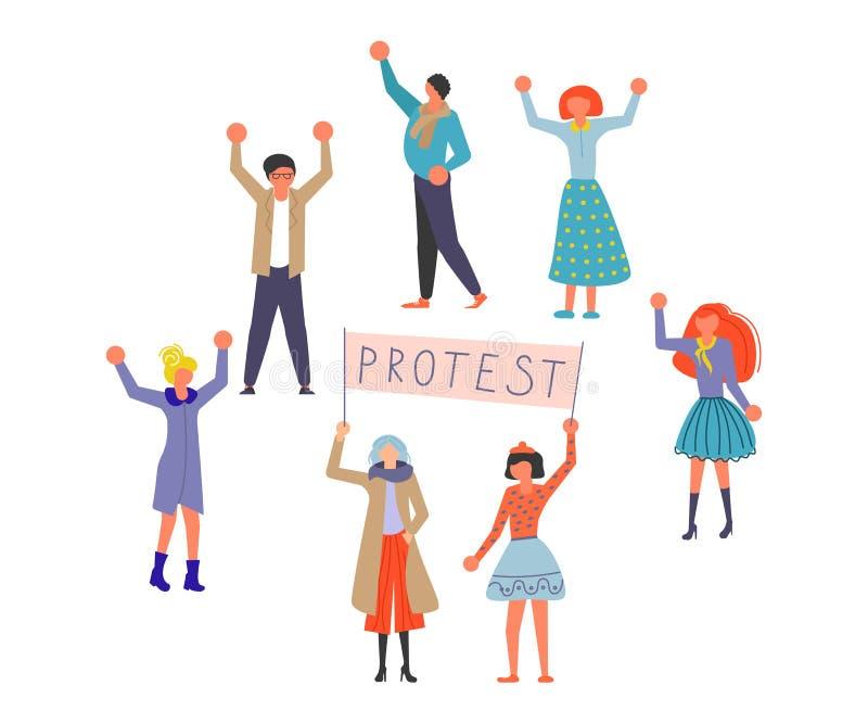 公开街道抗议概念 库存例证