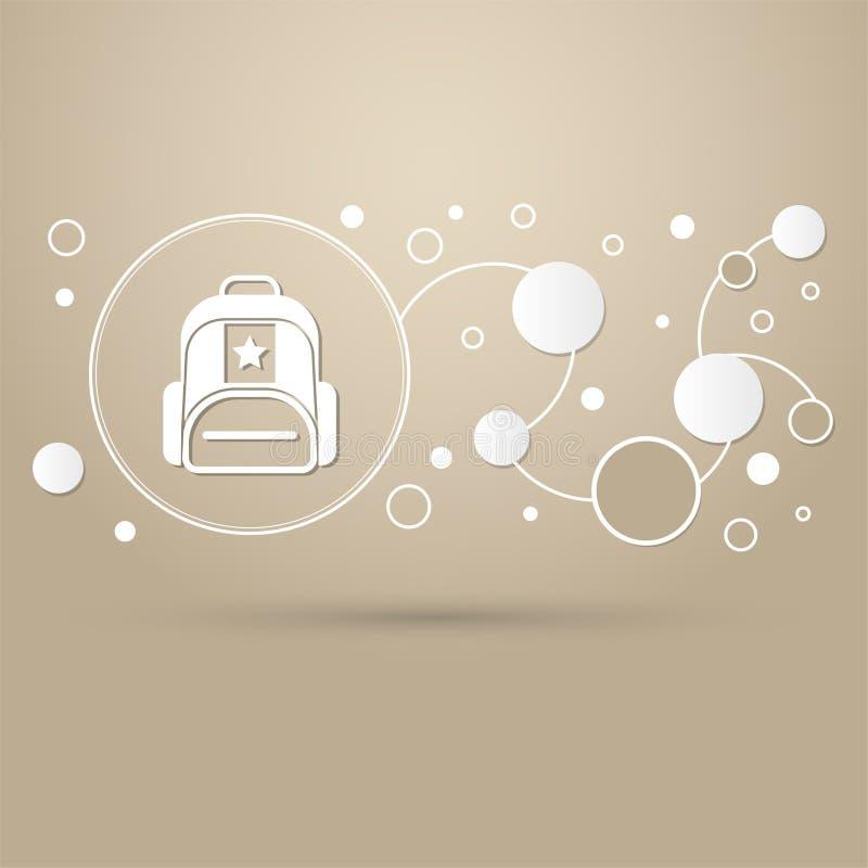 公文包、案件、袋子象在棕色背景与典雅式样和infographic的现代设计 向量例证