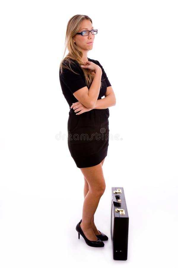 公文包副常设视图妇女年轻人 免版税图库摄影