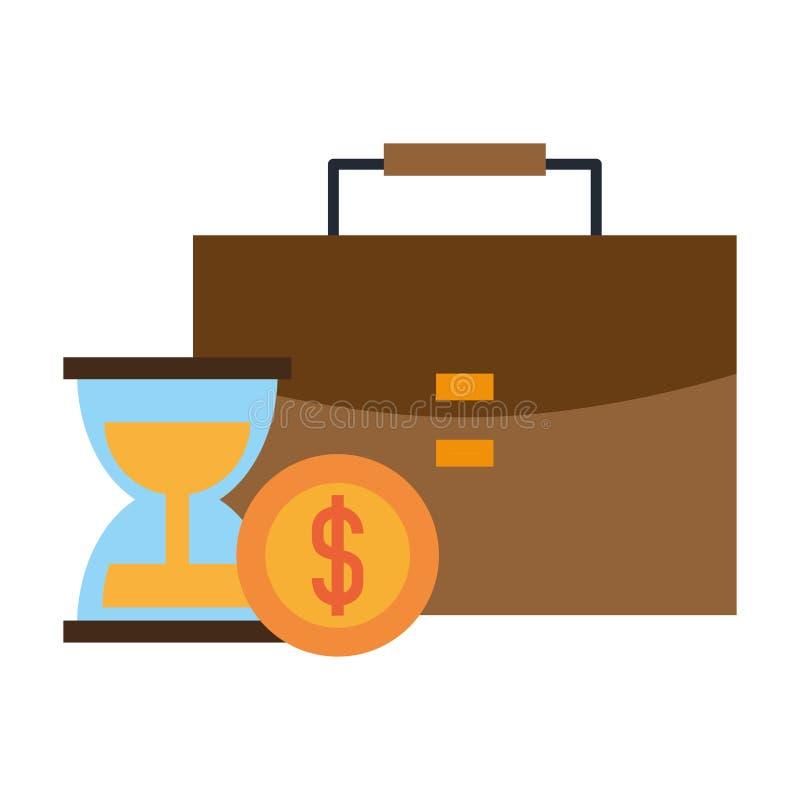 公文包滴漏和硬币 库存例证