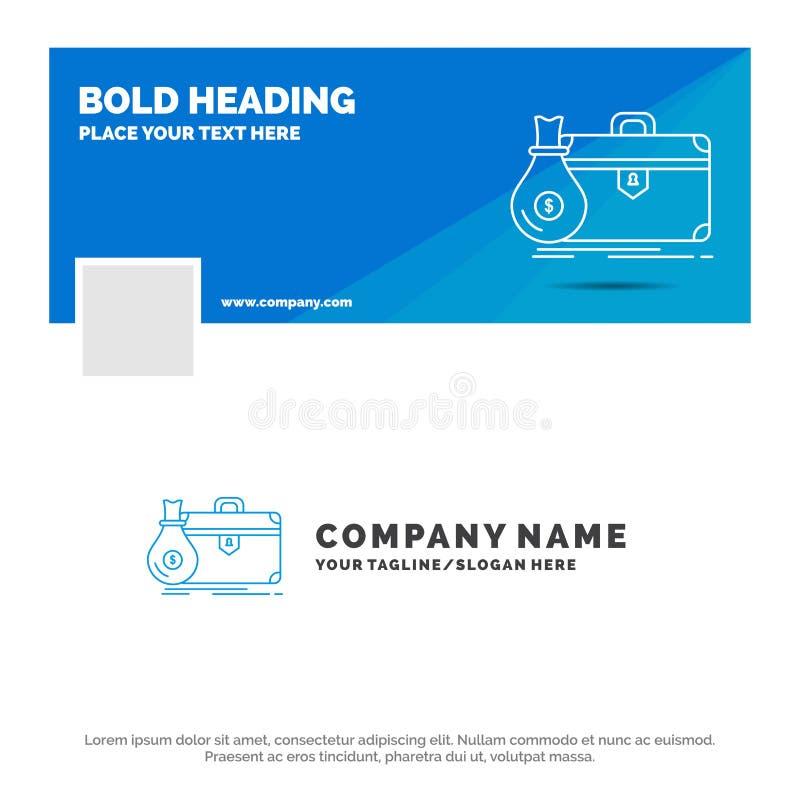 公文包的蓝色企业商标模板,事务,案件,开放,股份单 r r 向量例证