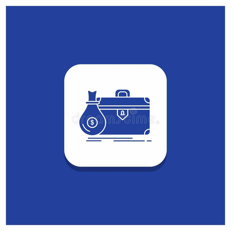 公文包的,事务,案件,开放,股份单纵的沟纹象蓝色圆的按钮 向量例证
