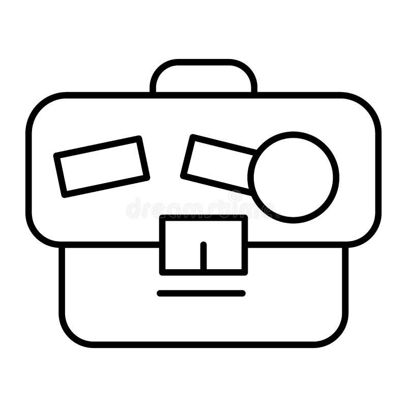 公文包稀薄的线象 与贴纸在白色隔绝的传染媒介例证的股份单 袋子概述样式设计 库存例证