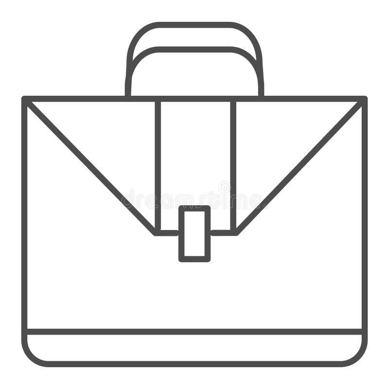公文包稀薄的线象 案件在白色隔绝的传染媒介例证 手提箱概述样式设计,设计为网 向量例证