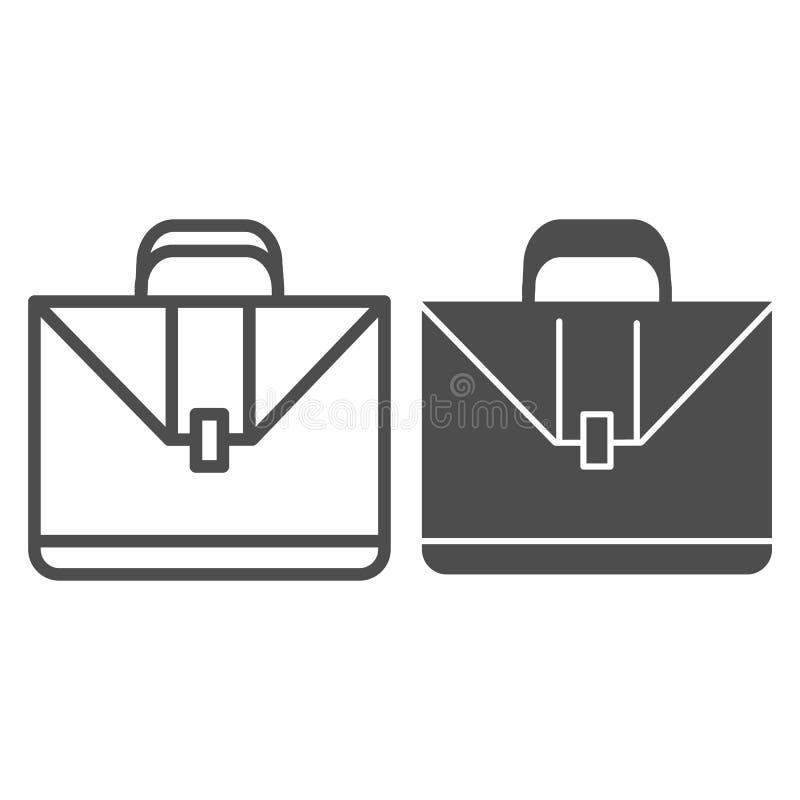 公文包线和纵的沟纹象 案件在白色隔绝的传染媒介例证 手提箱概述样式设计,设计为 皇族释放例证