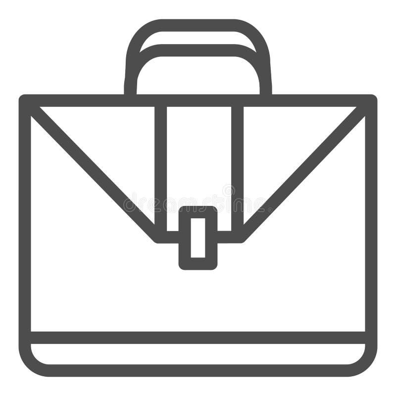 公文包线象 案件在白色隔绝的传染媒介例证 手提箱概述样式设计,设计为网和应用程序 向量例证