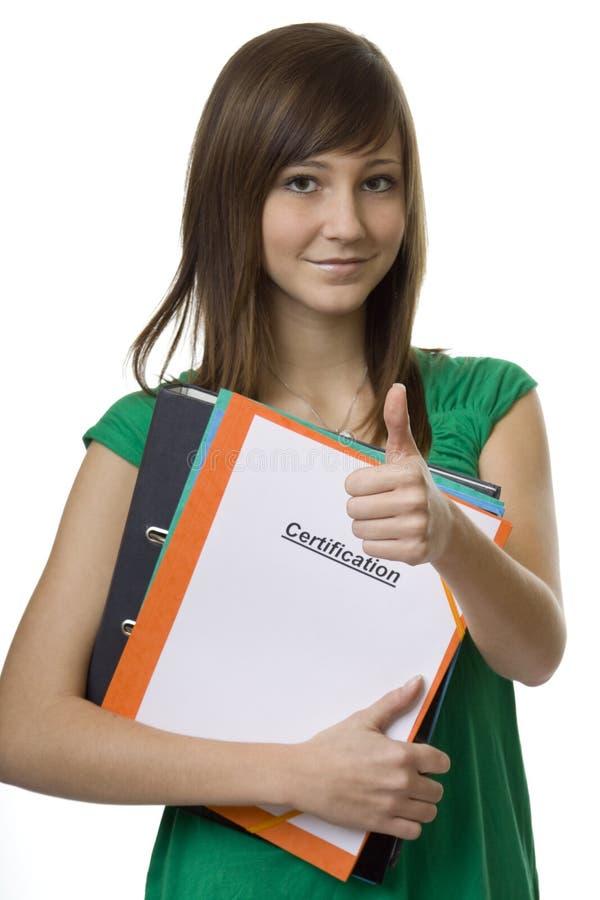 公文包认证女学生 图库摄影