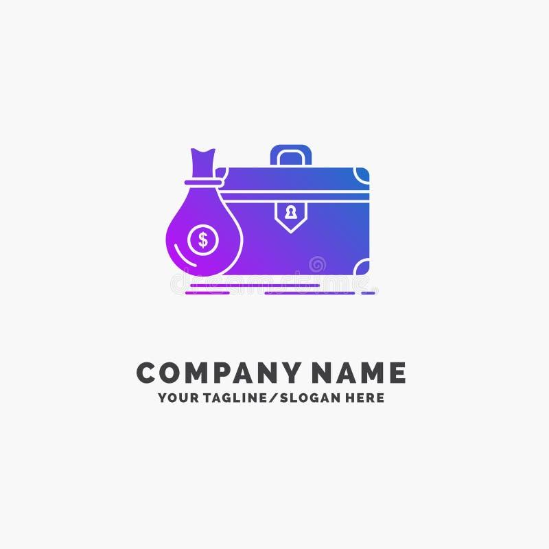 公文包,事务,案件,开放,股份单紫色企业商标模板 r 皇族释放例证