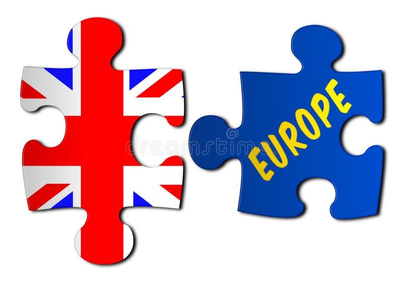 公民投票七巧板英国国旗和欧洲 向量例证