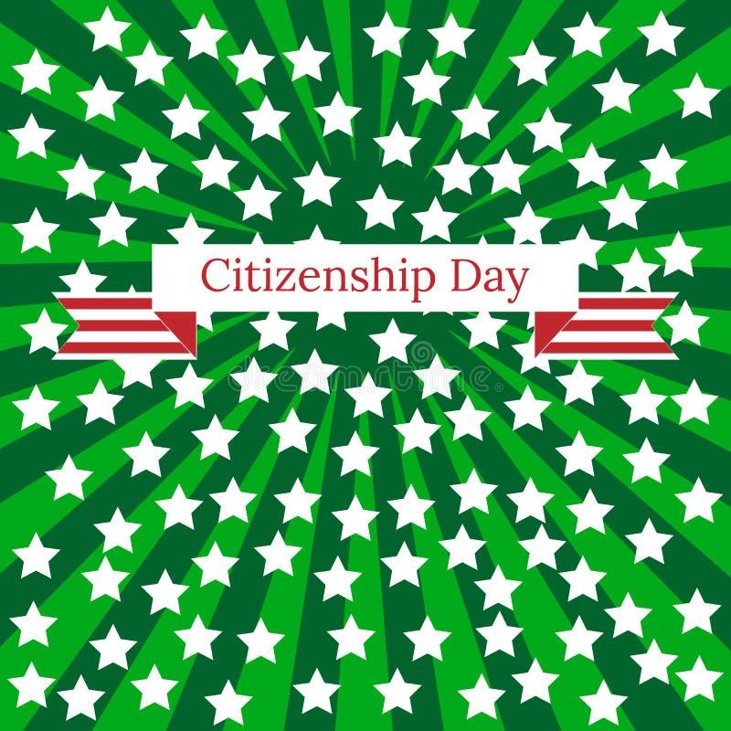 公民日在美国 9月17日 绿色光芒,白色星,有事件的名字的磁带 皇族释放例证