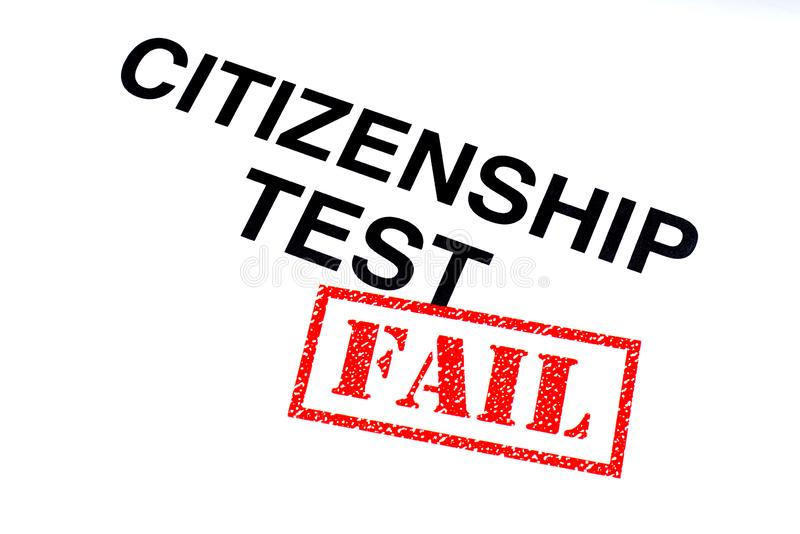 公民身份测试失败 皇族释放例证